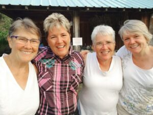 Vicki Purslow, Suzanne Willow, Lanita Witt and Chris Cook at the ranch